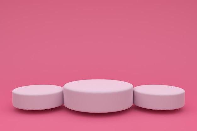 Rendering 3d astratto. piattaforma bianca per la visualizzazione del prodotto. posto sul podio interno. modello di decorazione in bianco per. su sfondo rosa