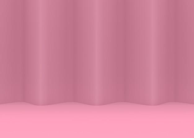 Rendering 3d. backgorund della parete e del pavimento della curva dell'onda del ricciolo di colore rosa dolce.