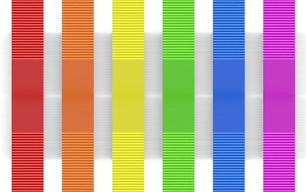 Rendering 3d. barre del pannello di progettazione di colore dell'arcobaleno lgbt sul fondo bianco della parete.