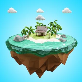 Rendering 3d. bassa isola poligonale. concetto di relax avventura.