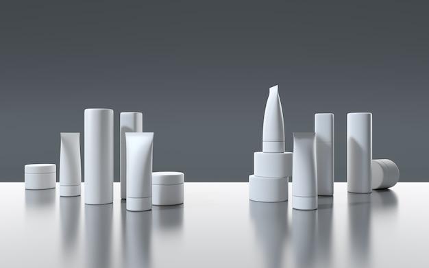 Rendering 3d bianco prodotti cosmetici