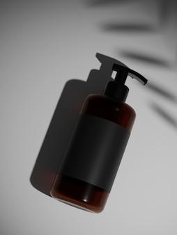 Rendering 3d bottiglia di shampoo in plastica marrone e nero mock up. mettere sul muro sotto il sole.