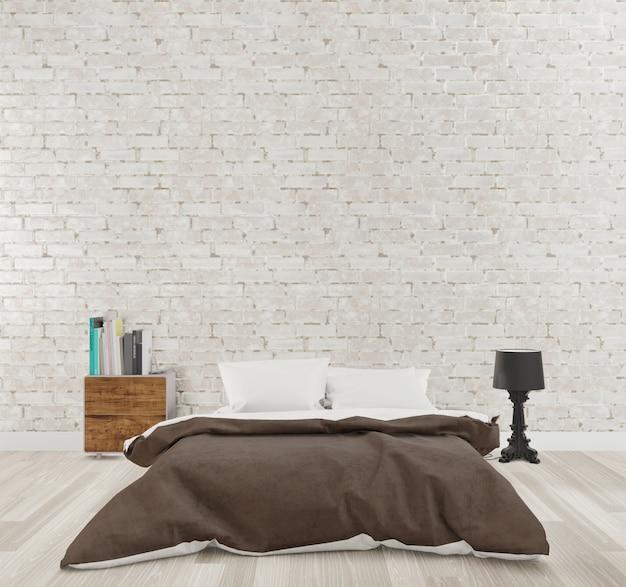 Rendering 3d camera da letto in stile loft con muro di mattoni bianchi, pavimento in legno,