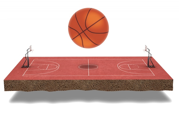 Rendering 3d campo da basket