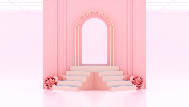 Rendering 3d cancello rosa con podio e rose cuore