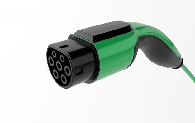Rendering 3d caricabatterie ev iec 62196, spina di ricarica per auto elettrica