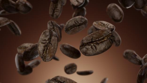 Rendering 3d chicchi di caffè che cadono su uno sfondo marrone