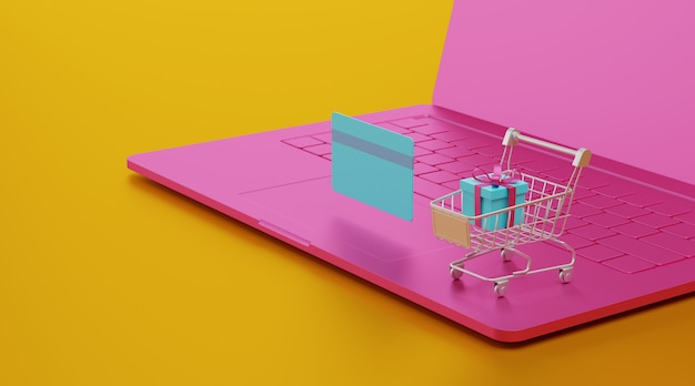 Rendering 3d concetto di shopping online.