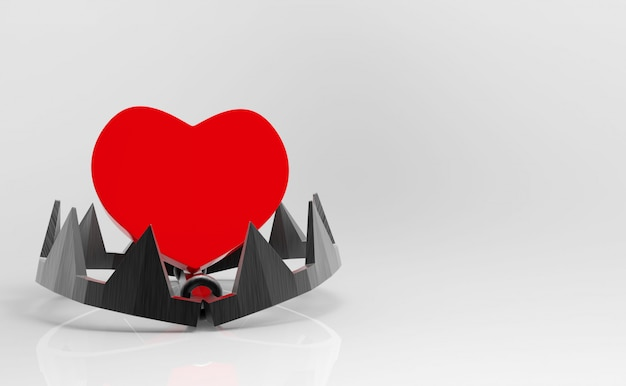 Rendering 3d. cuore rosso sulla trappola della mascella dei denti su fondo bianco. rischio nel concetto di amore.