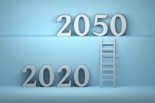 Rendering 3d del 2020 e 2050 anni