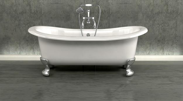 Rendering 3d del classico bagno rullo superiore e rubinetti con doccia attatchment in interni contemporanei