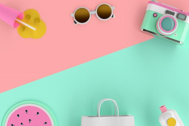 Rendering 3d del colorato minuscolo simpatico viaggiatore estate gadget