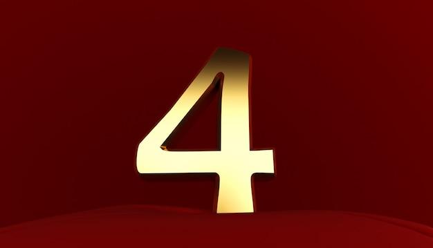 Rendering 3d del numero 4, numero quattro in metallo dorato, testo 3d,