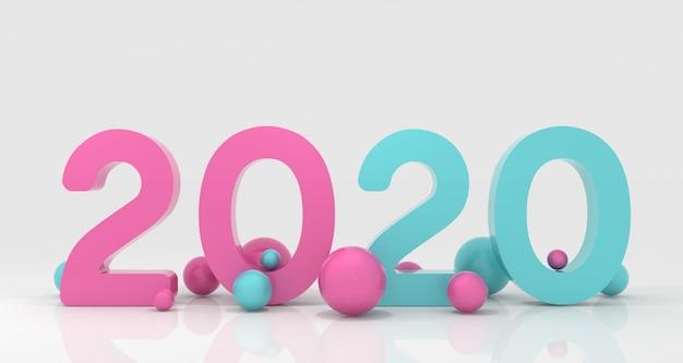 Rendering 3d del nuovo anno 2020