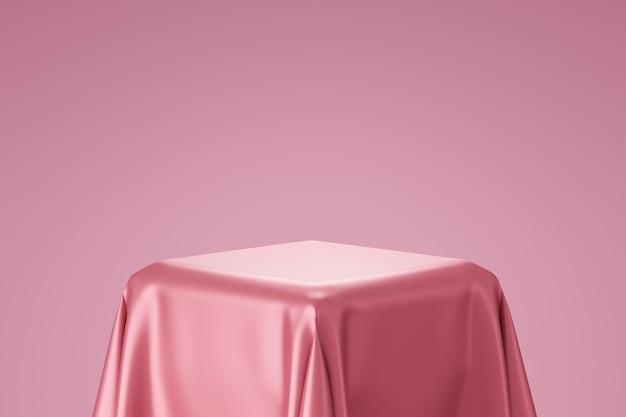 Rendering 3d del podio con tessuto di seta rosa