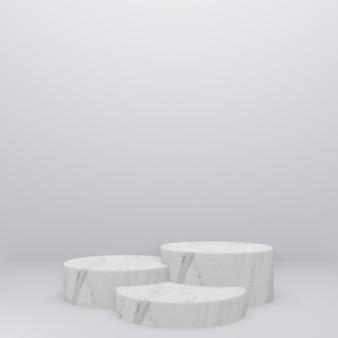 Rendering 3d del podio in marmo bianco nella stanza bianca.