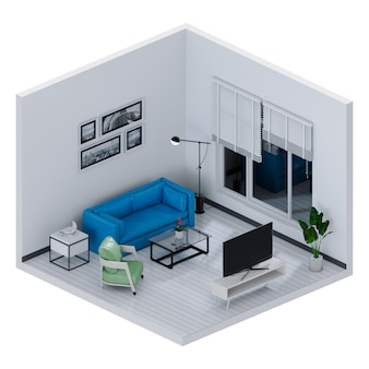 Rendering 3d del salotto interno con smart tv
