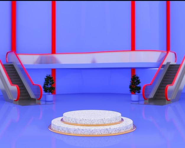 Rendering 3d dell'anello dorato del podio di marmo sul centro commerciale minimo astratto