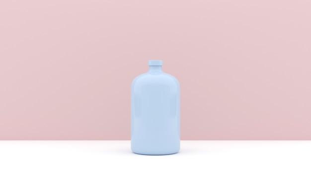 Rendering 3d della bottiglia di plastica rosa.