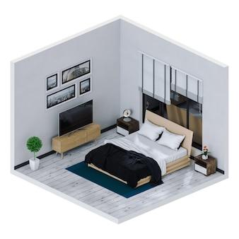 Rendering 3d della camera da letto soggiorno interno con smart tv