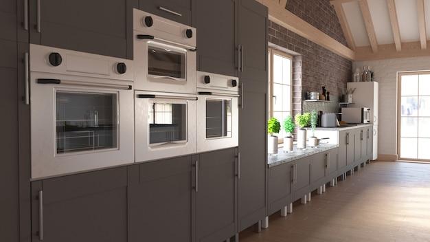 Rendering 3d della cucina contemporanea