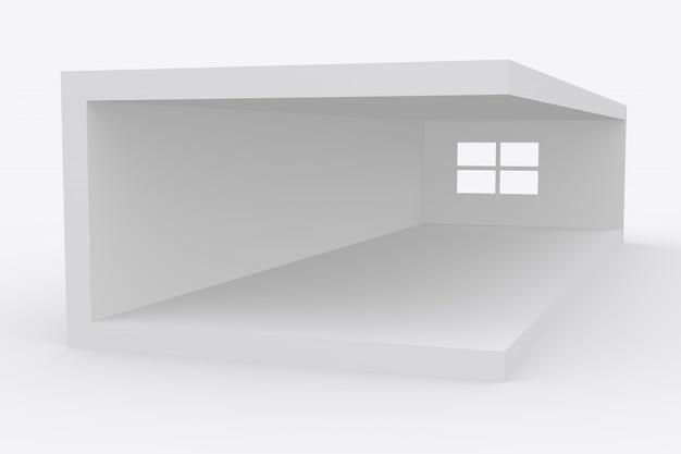 Rendering 3d della piattaforma della stanza bianca foto premium