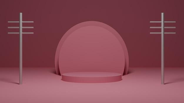 Rendering 3d della piattaforma rosa pastello con pali in metallo argentato