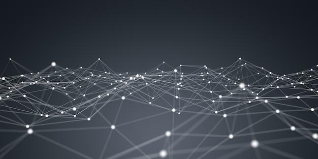 Rendering 3d della rete a virgola mobile bianca e blu