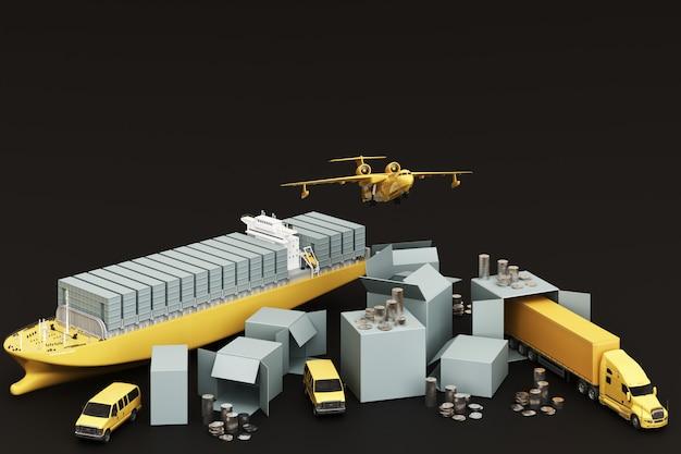 Rendering 3d della scatola della cassa circondata da scatole di cartone, una nave portacontainer, un piano di volo, un'auto, un furgone e un camion su sfondo nero