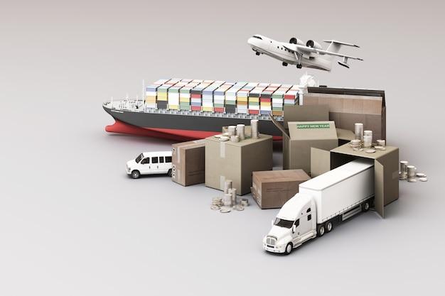 Rendering 3d della scatola della cassa circondata da scatole di cartone, una nave portacontainer, un piano di volo, un'auto, un furgone e un camion