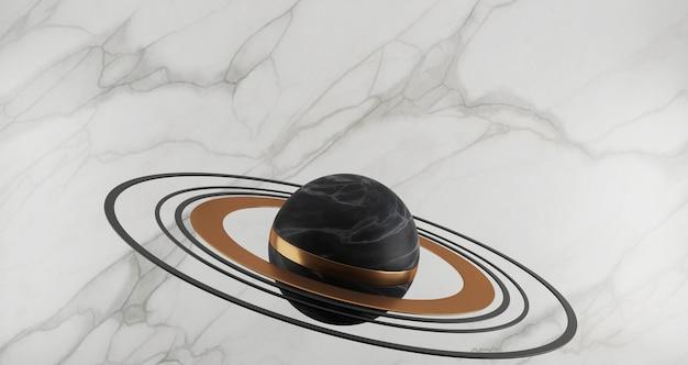 Rendering 3d della sfera di marmo nera e anelli d'oro come il pianeta isolato su sfondo di marmo bianco, anello d'oro, rotondo, astratto concetto minimo, spazio vuoto, minimalista di lusso