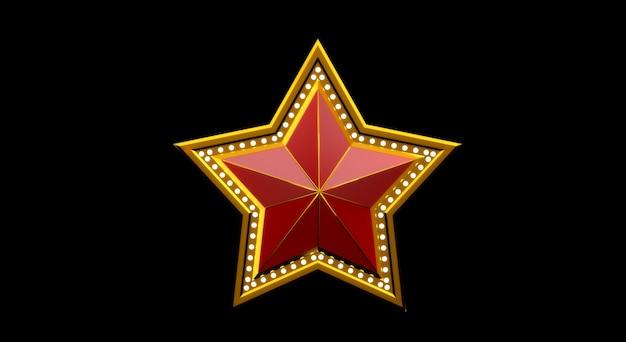 Rendering 3d della stella d'oro con luci isolato su sfondo nero.