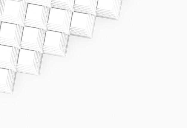 Rendering 3d. design moderno griglia quadrata bianca su sfondo grigio muro.