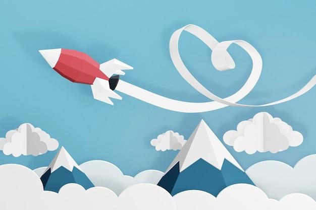 Rendering 3d design, stile paper art di cuore nastro con lancio di razzi nel cielo.