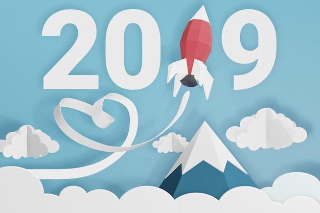 Rendering 3d design, stile paper art di felice anno nuovo 2019 con lancio di razzi nel cielo.