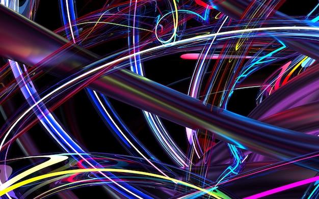 Rendering 3d di arte astratta sfondo 3d basato su tubi ondulati rotondi curva in vetro viola e materiali metallici rosa, con elemento al neon incandescente