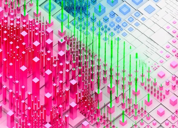 Rendering 3d di arte astratta topografica sfondo paesaggio 3d con surreali colline o montagne basate su cubi scatole o bar o pilastri in plastica lucida bianca e rosa e materiali in vetro verde blu