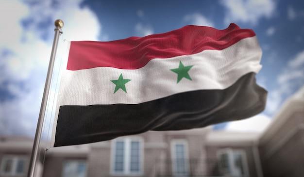 Rendering 3d di bandiera della siria sullo sfondo del cielo blu