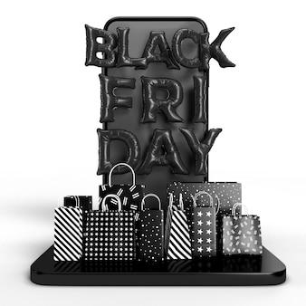 Rendering 3d di black friday. business concept marketing e marketing online digitale