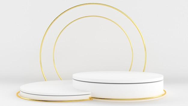 Rendering 3d di colore bianco e oro con sfondo minimo e astratto. spettacolo teatrale con forma e geometria.