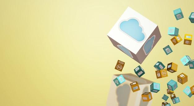 Rendering 3d di dati cloud per contenuti tecnologici.