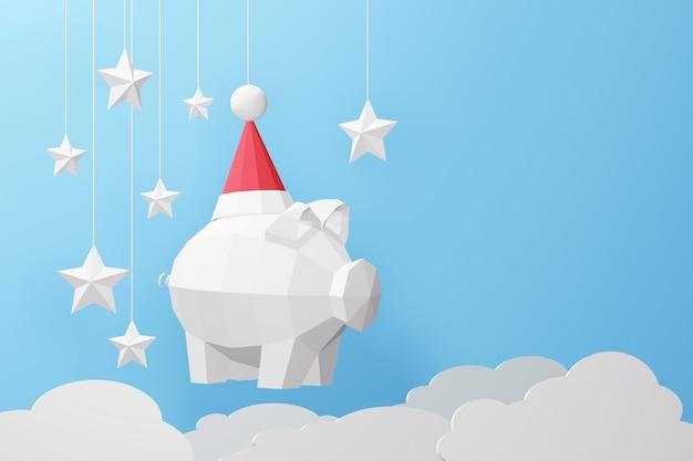 Rendering 3d di design, arte di carta e stile artigianale di basso poly pig indossando il cappello di babbo natale.