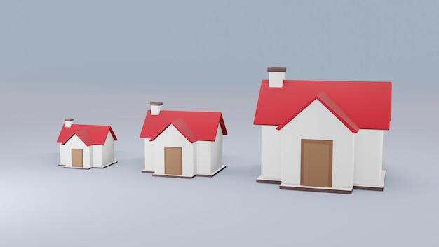 Rendering 3d di dimensioni crescenti della casa