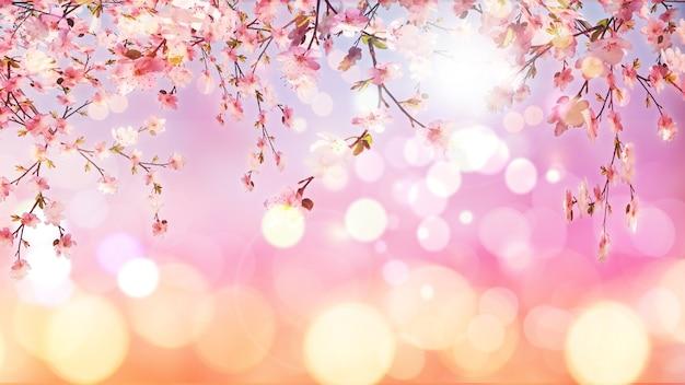 Rendering 3d di fiore di ciliegio sullo sfondo di luci bokeh