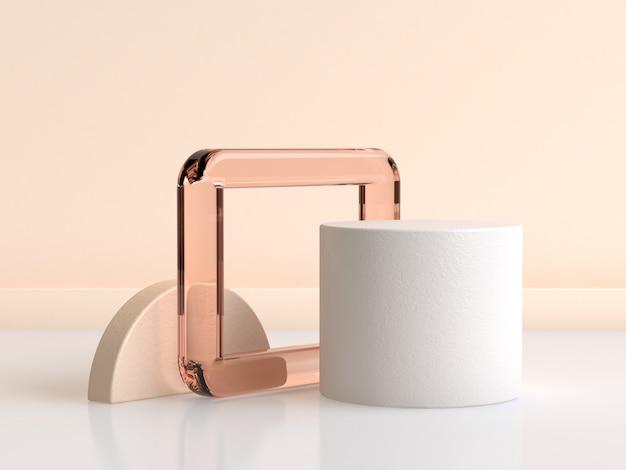 Rendering 3d di forma cilindro bianco cornice di vetro arancione