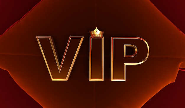 Rendering 3d di golden vip crown, royal oro vip corona sul cuscino, crown vip
