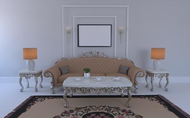 Rendering 3d di interni del moderno salotto con divano - divano e tavolo