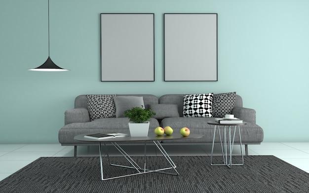 Rendering 3d di interni del salotto moderno con divano - divano e tavolo