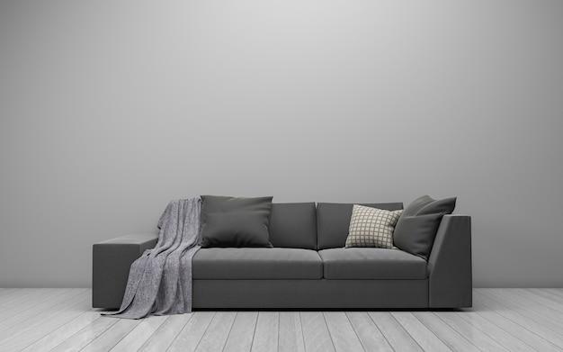 Rendering 3d di interni del salotto moderno con divano, divano e tavolo