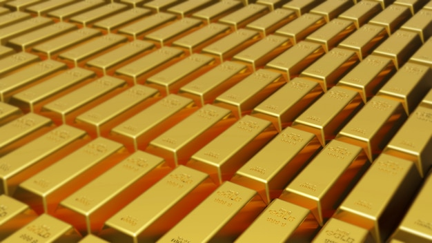 Rendering 3d di lingotti d'oro